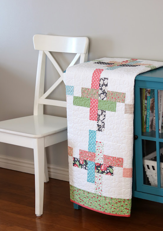 Hello Washi baby quilt  - pattern uses charm squares or jelly roll strips and comes in four sizes: baby quilt, throw quilt, twin quilt, or queen size quilt