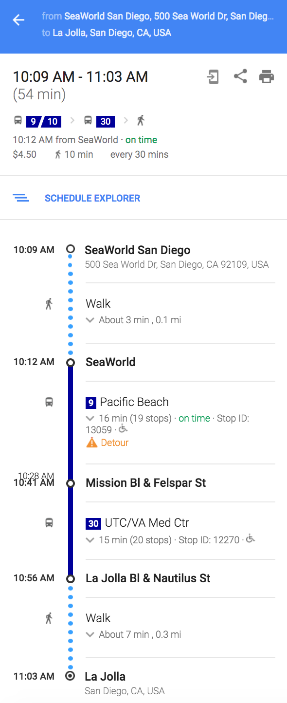 And the final tip is to use Google maps when you are planning your commute. Please above screenshot, which speaks a lot. You just have to enter your starting position and the destination. On the basis of this information and current time, it would suggest you the route you should follow, which bus/train to catch and from where? Walking directions, if any. Exact timings of these buses and trains. Most of the times this plan works and success rate was 100% for us. We tried this for at least 10 times in San Diego.  For first timers these are little tricky things to plan and I wish I had came across such tips before I planned my trip to San Diego. If you have been to San Diego and have anything else to suggest, please drop a comment below.