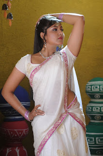 Actress Madhu Shalini Stills in White Half Saree  0009.jpg