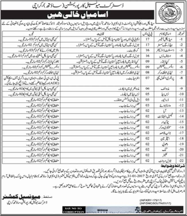 Karachi DMC Jobs 2017 District Municipal Corporation