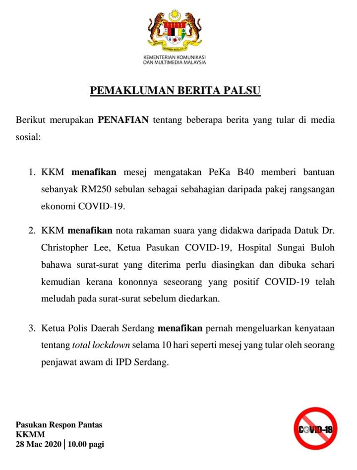 Berita palsu Covid-19 PKP