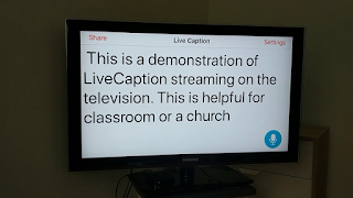 TV screen demonstrating captioning at a church or classroom