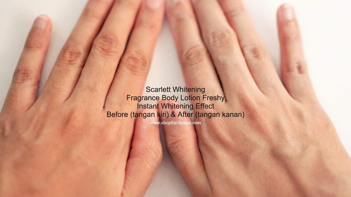 before after scarlett whitening freshy di tangan