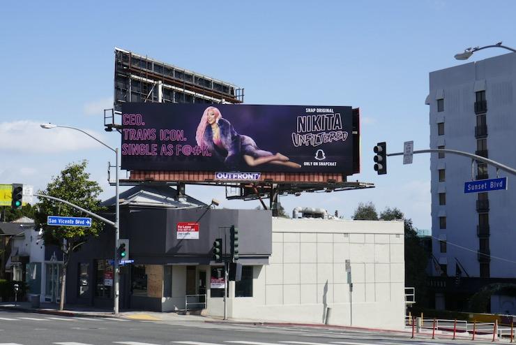 Nikita Unfiltered series launch billboard