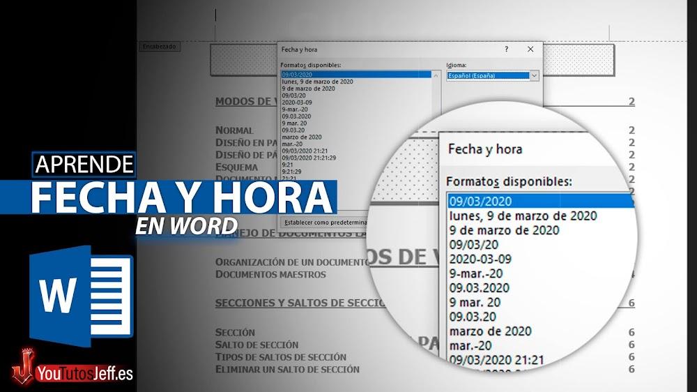 Como Poner Fecha y Hora en Documento Word