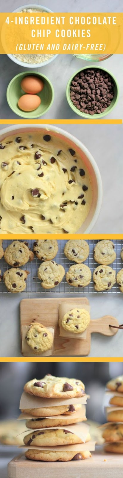 These 4-Ingredient Chocolate Chip Cookies are allergy-free and made with ingredients you already have in your kitchen.
