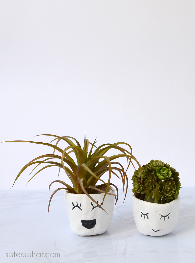 diy face planters with air dry clay