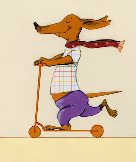 happy dachshund on a scooter illustration by Robert Wagt