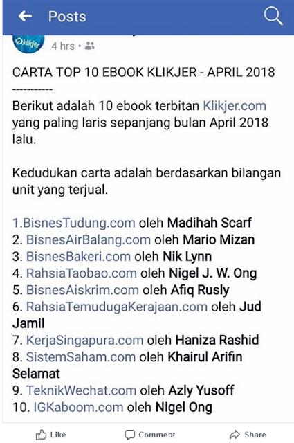 Tahniah! Rahsia Bisnes Tudung #1 Dalam Carta Top 10 Ebook Klikjer April 2018