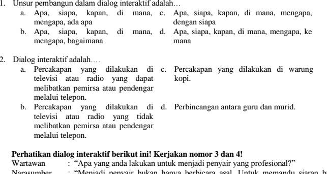 Contoh Soal UAS Bahasa Indonesia SMP Kelas 9 Semester 1