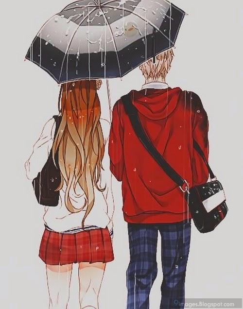 anime cute raining couple umbrella romantic