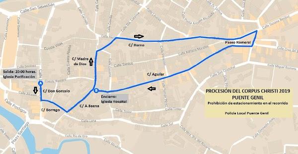 itinerario e Horario de la del Corpus Christi 2019 de Puente Genil