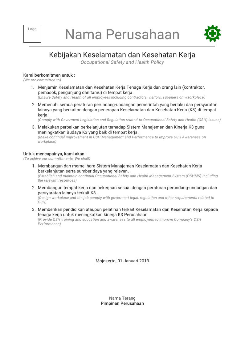 Contoh Kebijakan K3