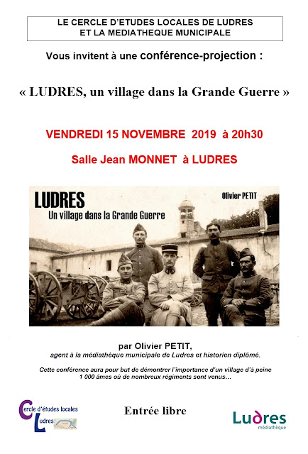 "LUDRES (54) - Conférence ""Ludres, un village lorrain dans la Grande Guerre"" (15 nov. 2019)"