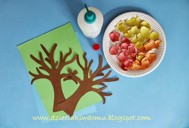 jesienne drzewa ze skorupek dla dzieci