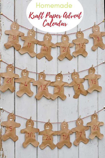 homemade kraft paper advent calendar gingerbread men