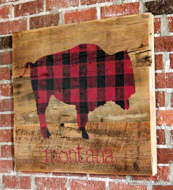 stencil a buffalo checked bison sign on reclaimed barnwood