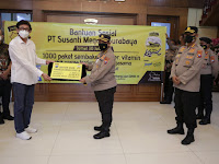 Polda Jatim Terima Bansos Dari PT. Susanti Megah Surabaya, Siap Disalurkan ke Masyarakat Terdampak Covid-19