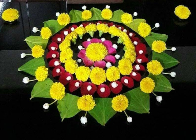 leaves and flower rangoli design