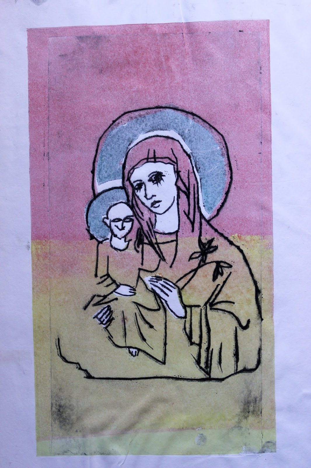 Print Madonna Child Halo Colours