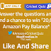 Amazon Cricket Quiz Answer Win Rs 20000 22nd April
