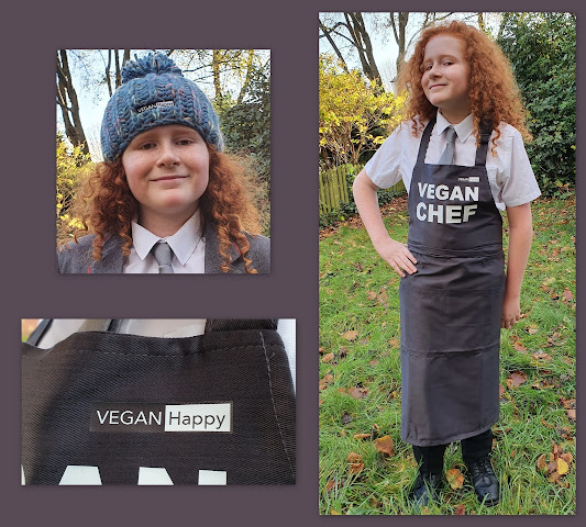 Vegan Happy Clothing collage of 3 photos showing teenage boy wearing pompom beanie hat and apron with Vegan Chef written on it