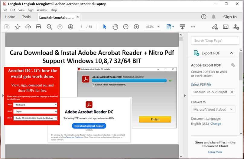cara instal pdf di laptop windows 10,8,7 - adobe reader