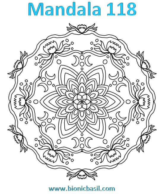 Mandalas on Monday ©BionicBasil® Colouring With Cats Mandala #118 Downloadable Image