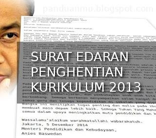 surat edaran hentikan kurikulum 2013