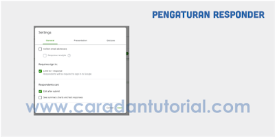 Pengaturan email google form