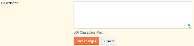 It will open up a dialogue box in which you can write 500 words long description about your website