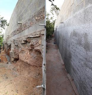 Stödmur före och efter reparationsarbete.