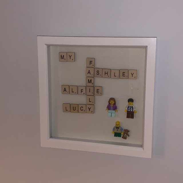 Handmade Scrabble tile frame of family