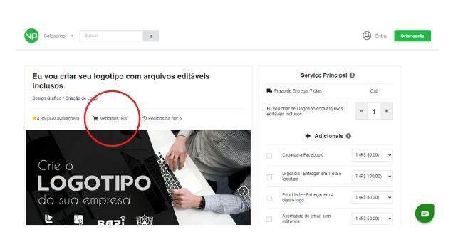 Exemplo de anuncio site vinte pila criação de design