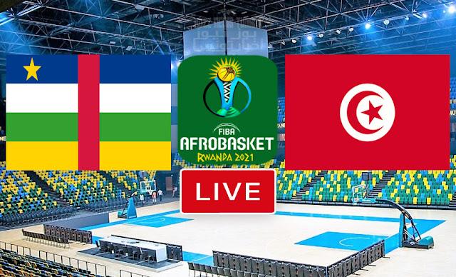 مباراة  تونس افريقيا الوسطى كرة السلة كأس الأمم الأفريقية - الأفروبسكات 2021
