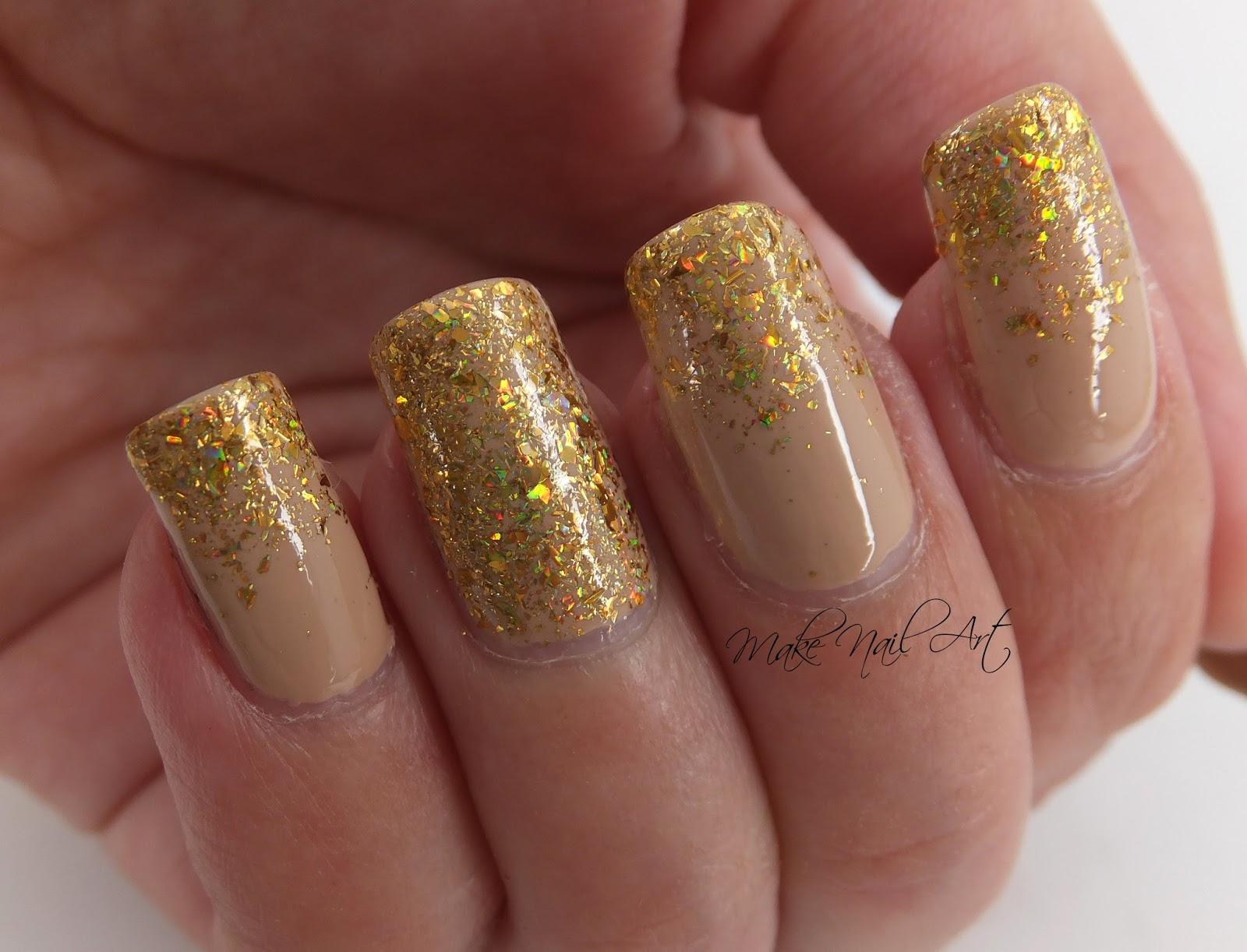 Make Nail Art Nude And Gold Glitter Elegant Nails Nail Art Design