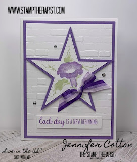 This Highland Heather card uses Stampin' Up!'s Morning Star set (it's retiring June 3, 2020!).  The background is the Brick & Mortar embossing folder.  Check the blog for more info and a video! #StampTherapist #StampinUp
