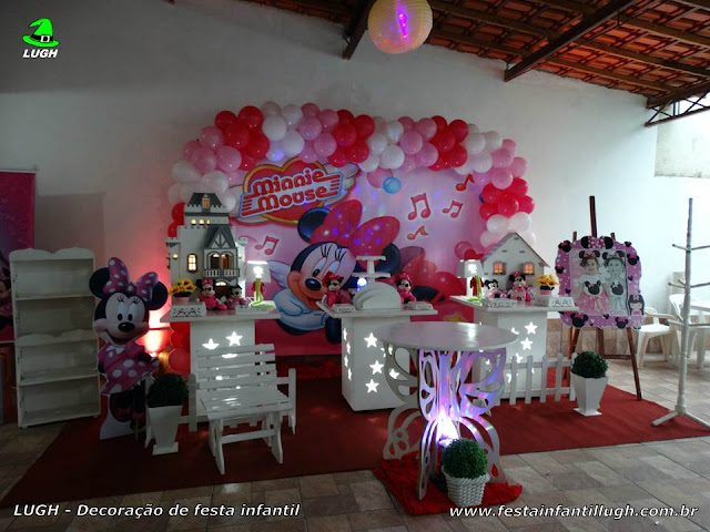 Decoração Minnie Rosa - Festa infantil - Provençal simples