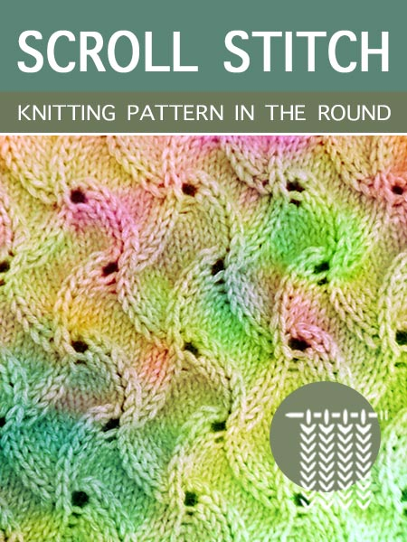 Hand Knitting Patterns - Scroll in the round #knittingintheround