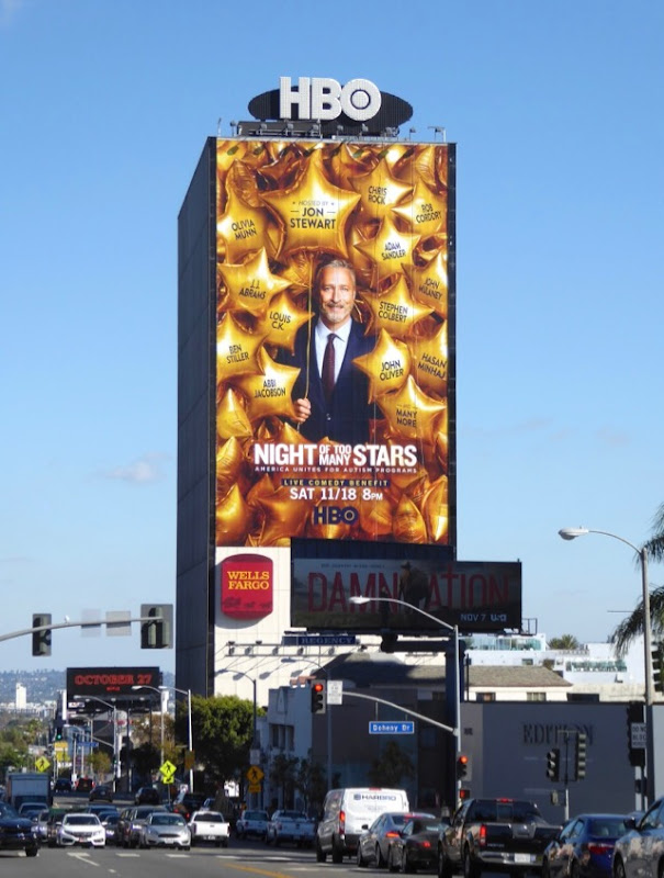 Jon Stewart Night of Too Many Stars billboard Sunset Strip