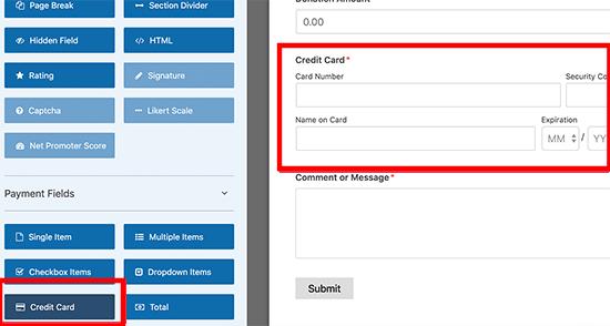 Add credit card fields in form builder