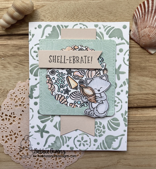 Shell-ebrate by Debbie features Newton's Seashell, Seashell Roundabout, Circle Frames, Frames Squared, and Frames & Flags by Newton's Nook Designs; #inkypaws, #newtonsnook, #cardmaking, #catcards, #summercards
