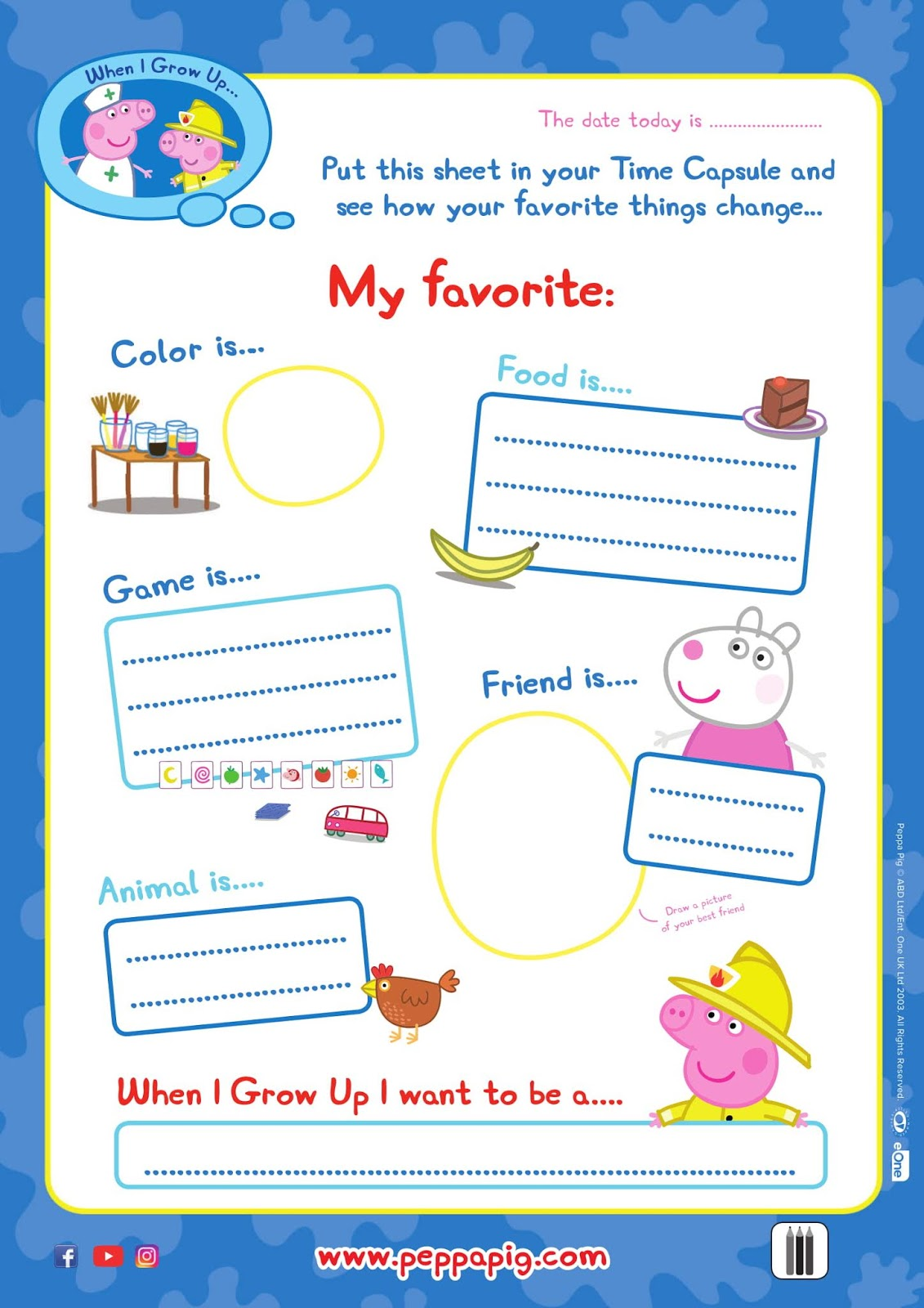 Peppa Pig Free Printable Activity