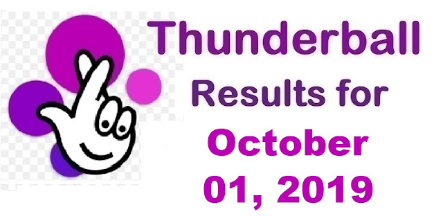 Thunderball results for Tuesday, October 01, 2019