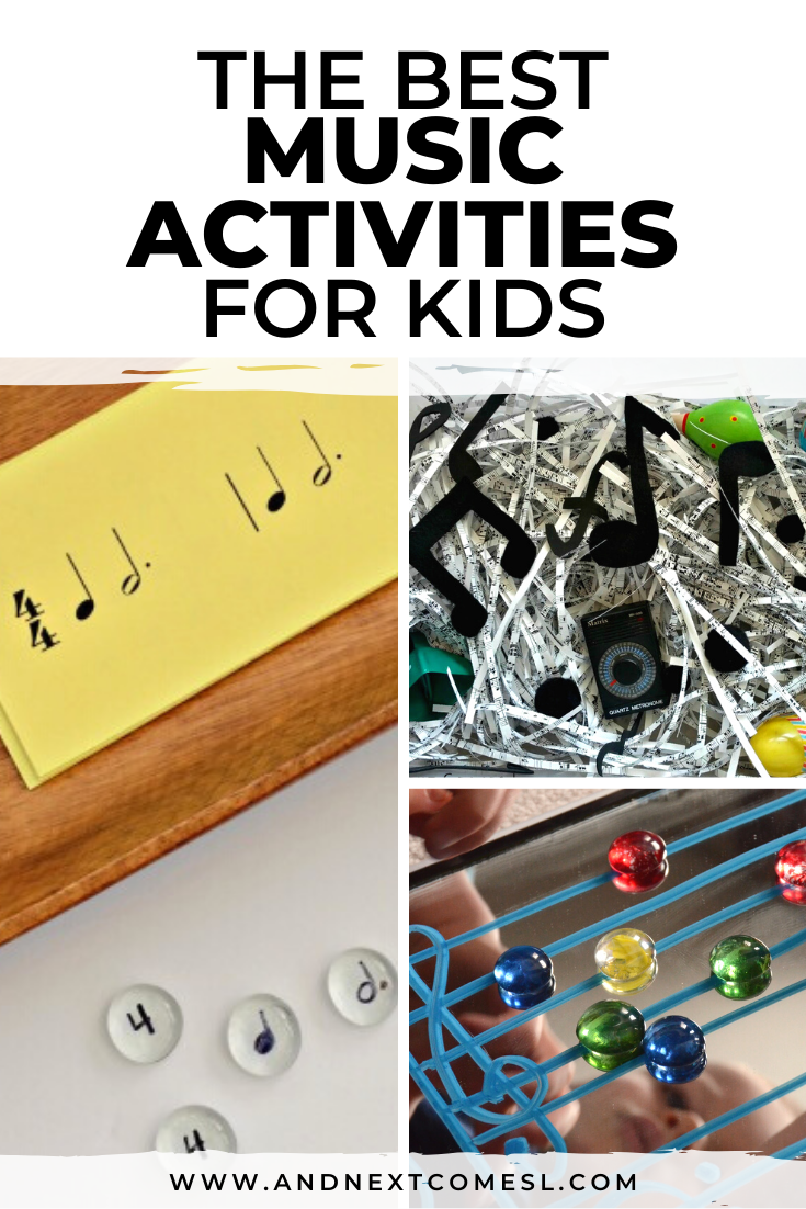 Music activities for kids to learn about music theory - plus printable music theory games too!