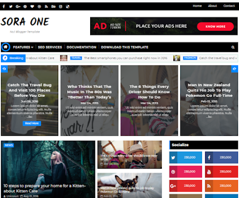 Sora-One Blogger Theme Download - Responsive Blogger template download