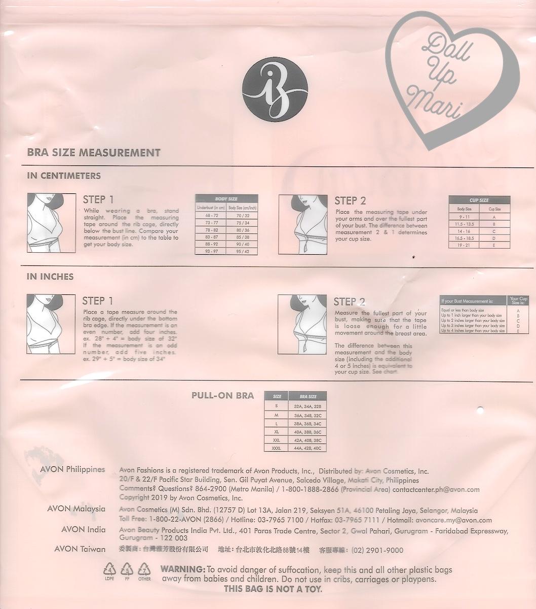 6df5c3bff95 AVON Intimates Body Illusion SONIA Pull-On Bra Size Chart