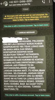 Berikut dibawah ini bukti ancaman dari APK AdaKami dari salah seorang netizen yang saya ambil di group FB pinjol.