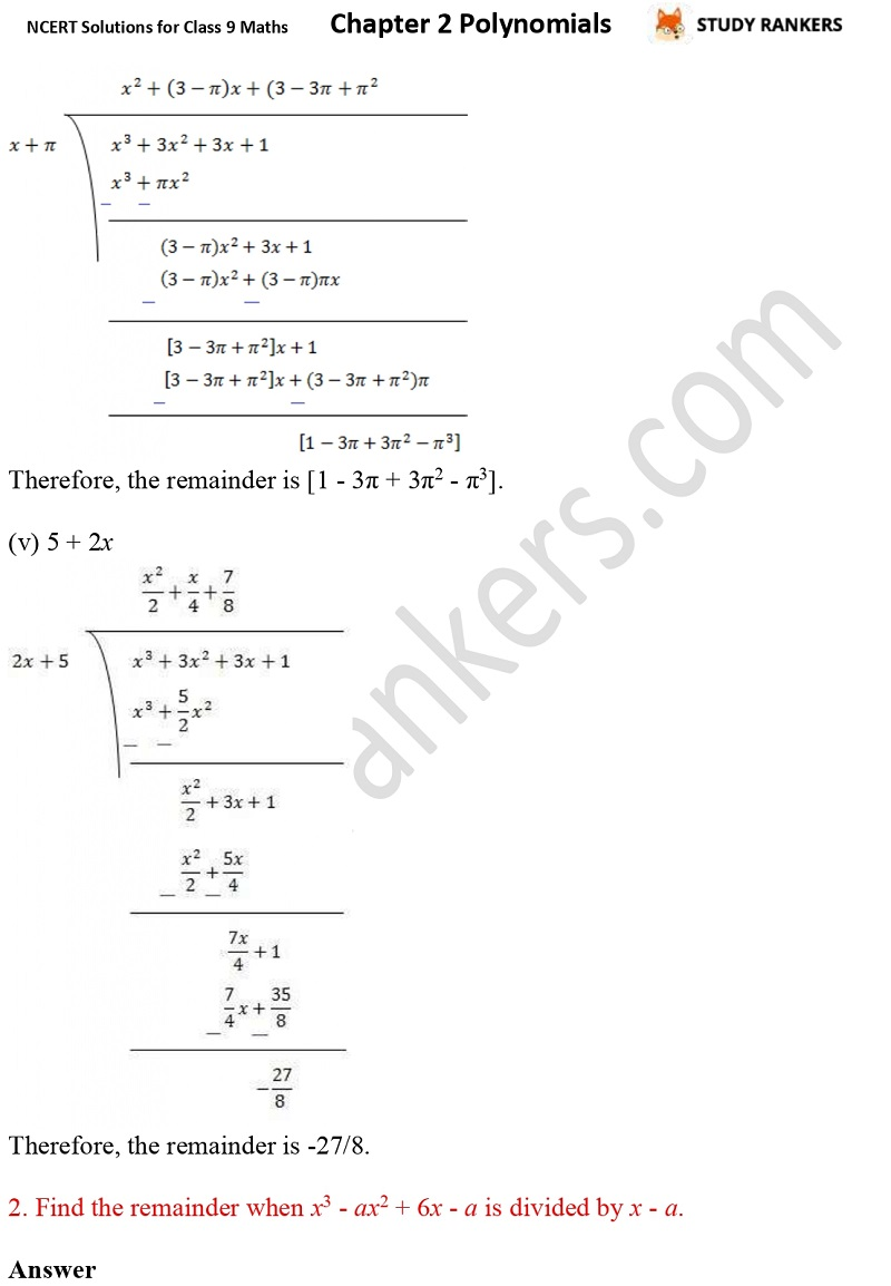 NCERT Solutions for Class 9 Maths Chapter 2 Polynomials Part 10