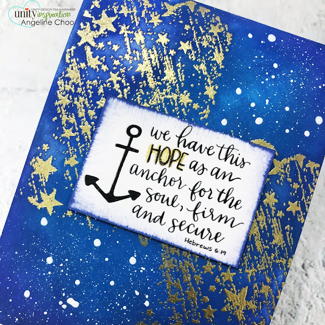 ScrappyScrappy: Unity Stamp May Release - Having Hope #scrappyscrappy #unitystampco #cardmaking #papercraft #handmadecard #stamping #rubberstamp #havinghope #sentimentkit #bibleverse #faithart #documentedfaith #getlostinthestars #brutusmonroe #gildedsparkle #goldembossing #embossingpowder #timholtz #distressoxideink #galaxy #starrynight #backgroundstamp